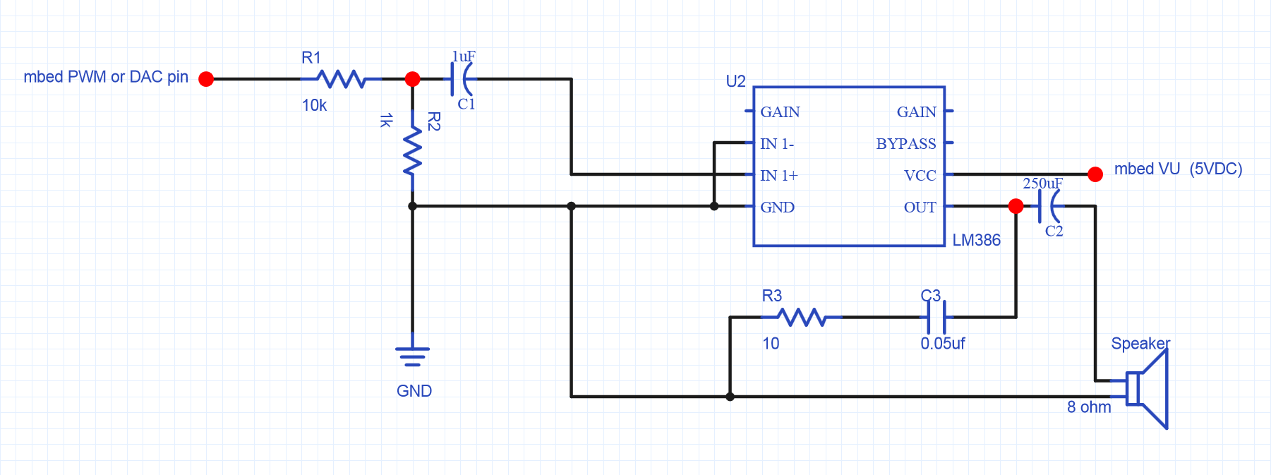 Using A Speaker For Audio Output Mbed Pwm Wiring Diagram Price Sign Lm386 Amplifier Circuit Small 8ohm 5w Smaller Value R1 Can Be Used To Increase The Volume
