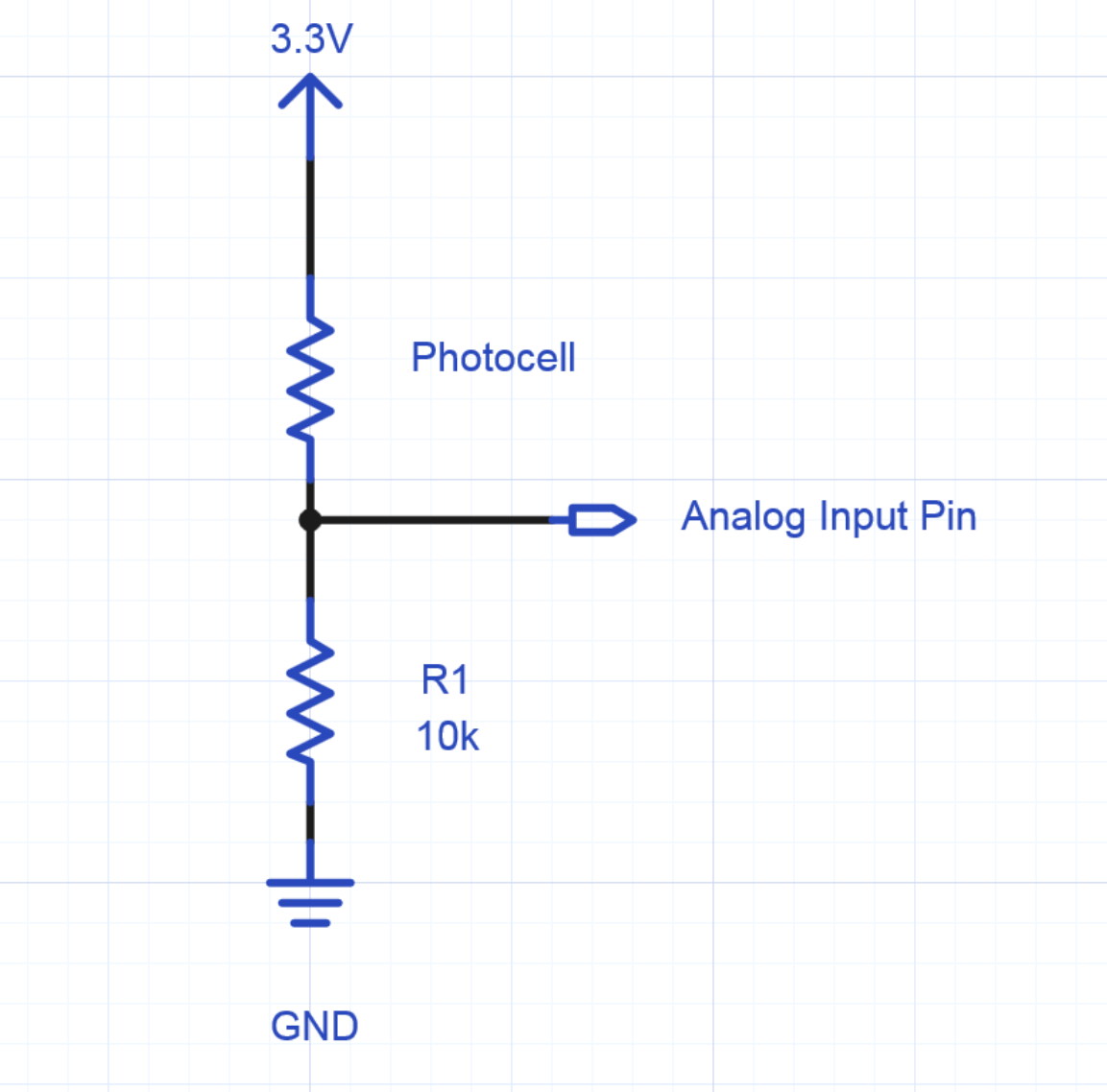 Using A Photocell Or Phototransistor To Determine Lighting Levels Mbed The Circuit Above Is Light Sensor That Means Must Shine Into Schematic Of Hookup An Analog Input