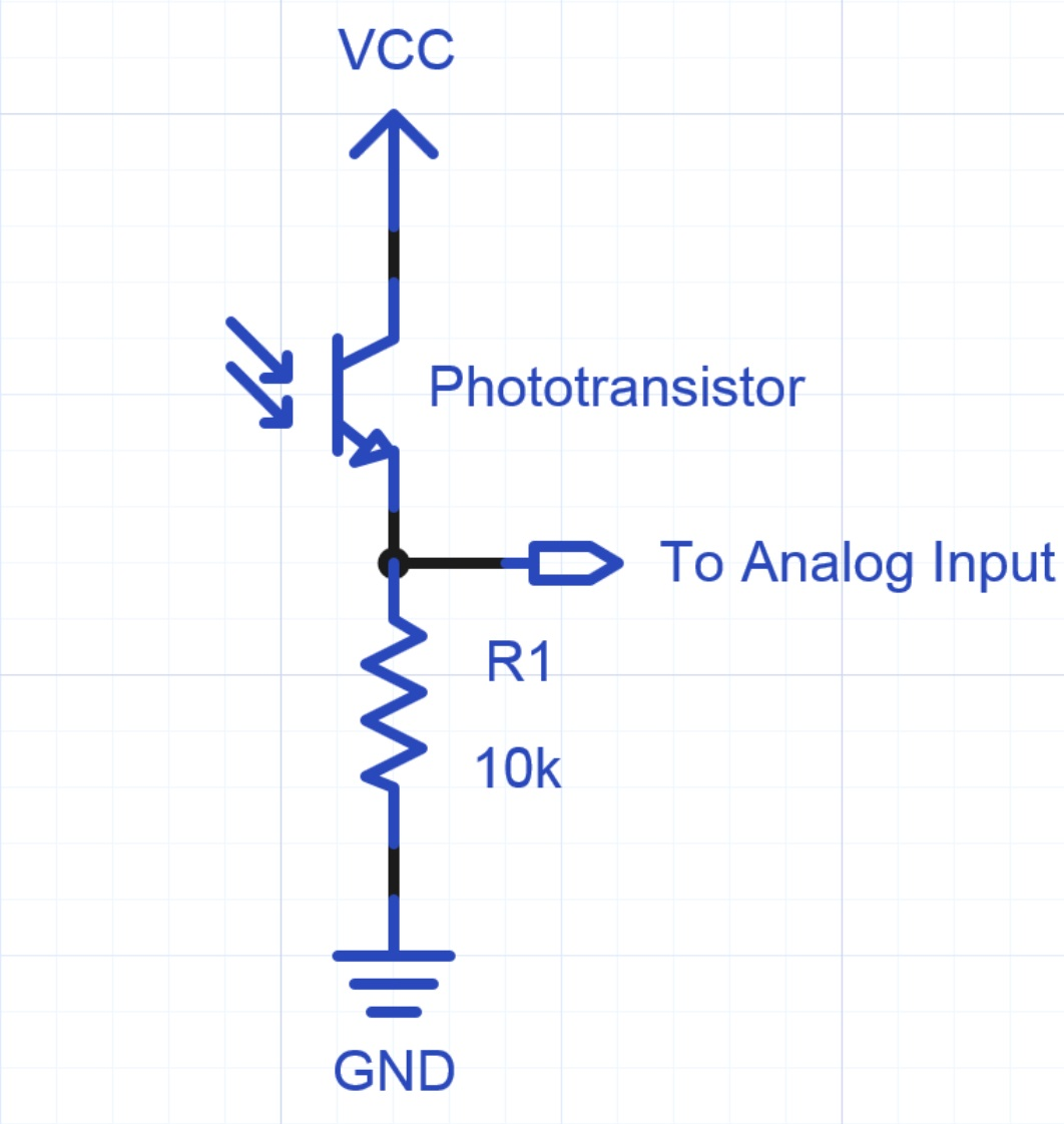 Using A Photocell Or Phototransistor To Determine Lighting Levels Mbed The Circuit Above Is Light Sensor That Means Must Shine Into Pts Typical Interface