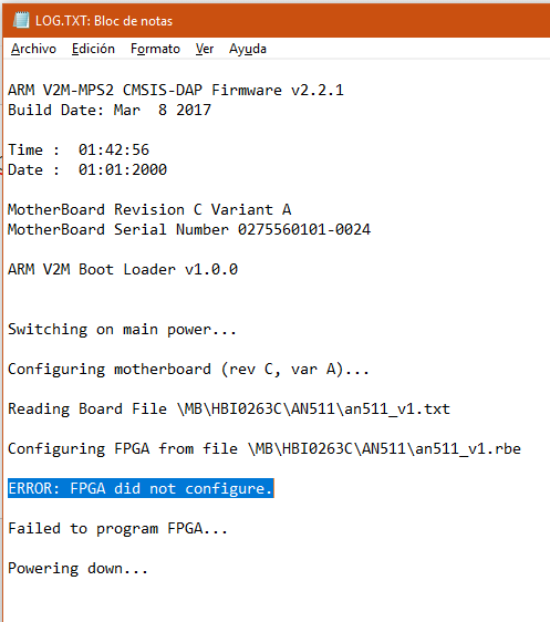 MPS2 ERROR: FPGA did not configure - Question   Mbed