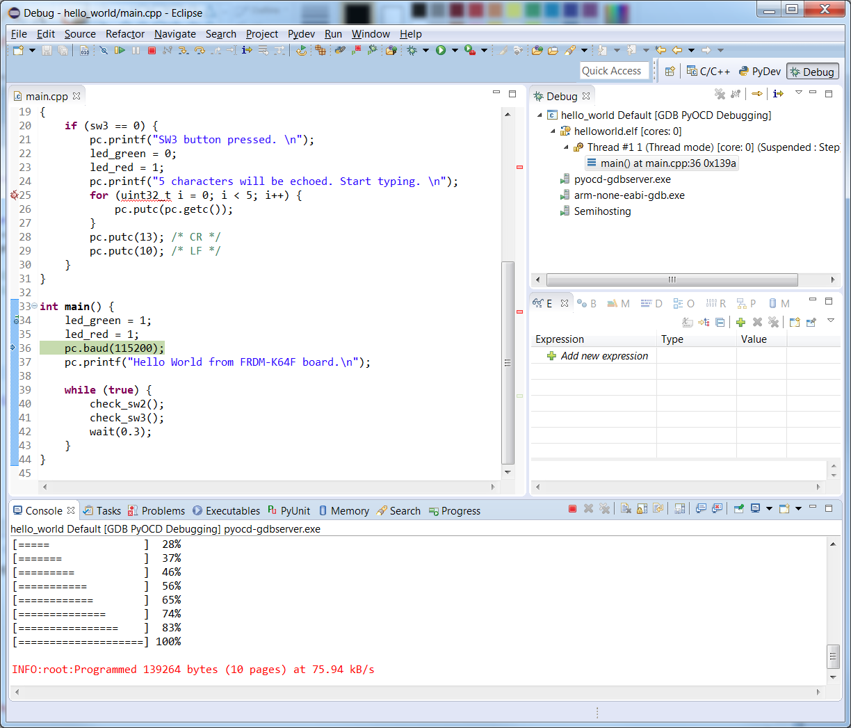 Debugging with Eclipse and pyOCD | Mbed
