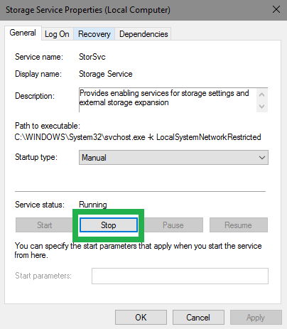 Storage Service settings with the Stop button highlighted.