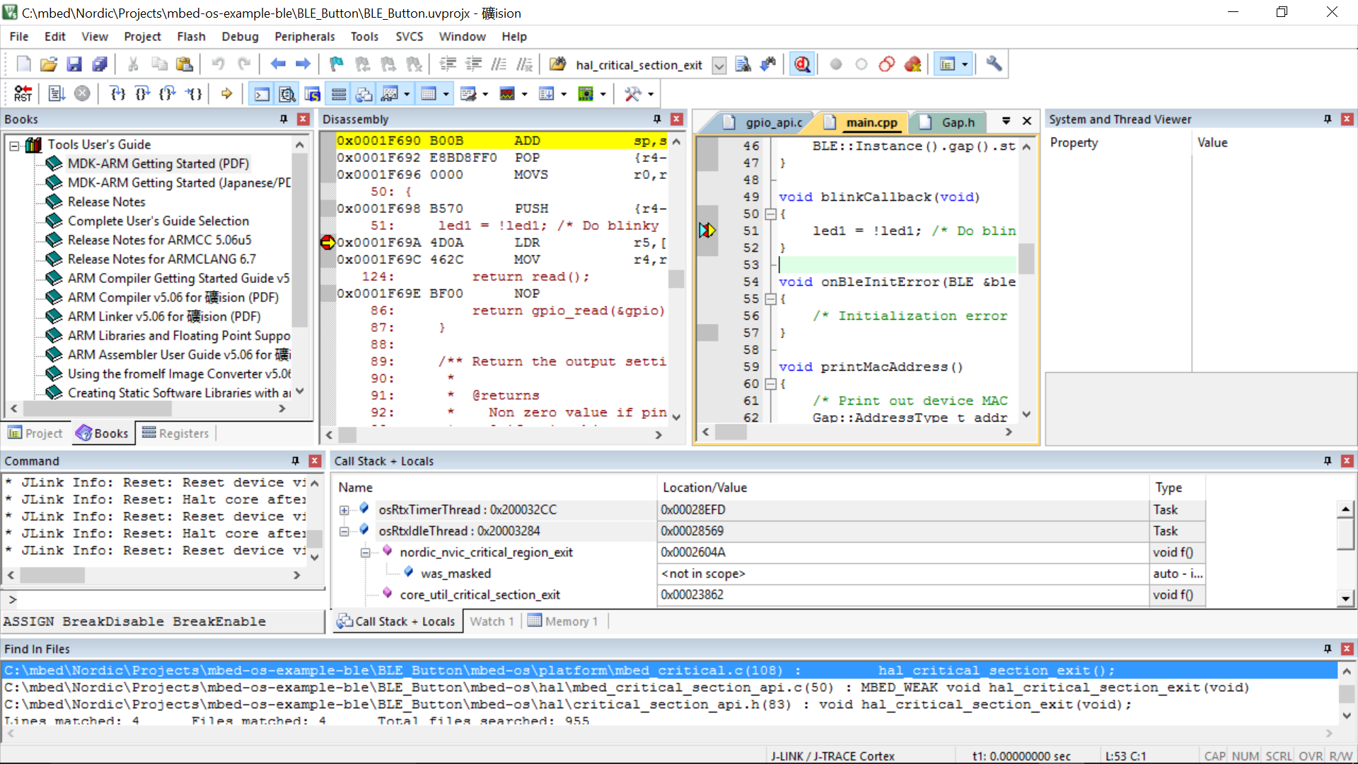 uVision debugging issue with