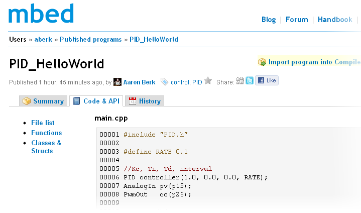 Example of viewing source code