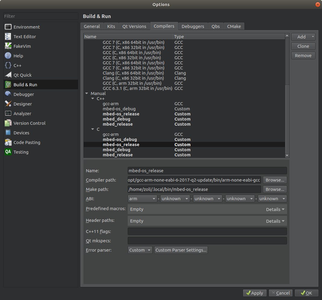 Building offline with Qt Creator IDE | Mbed