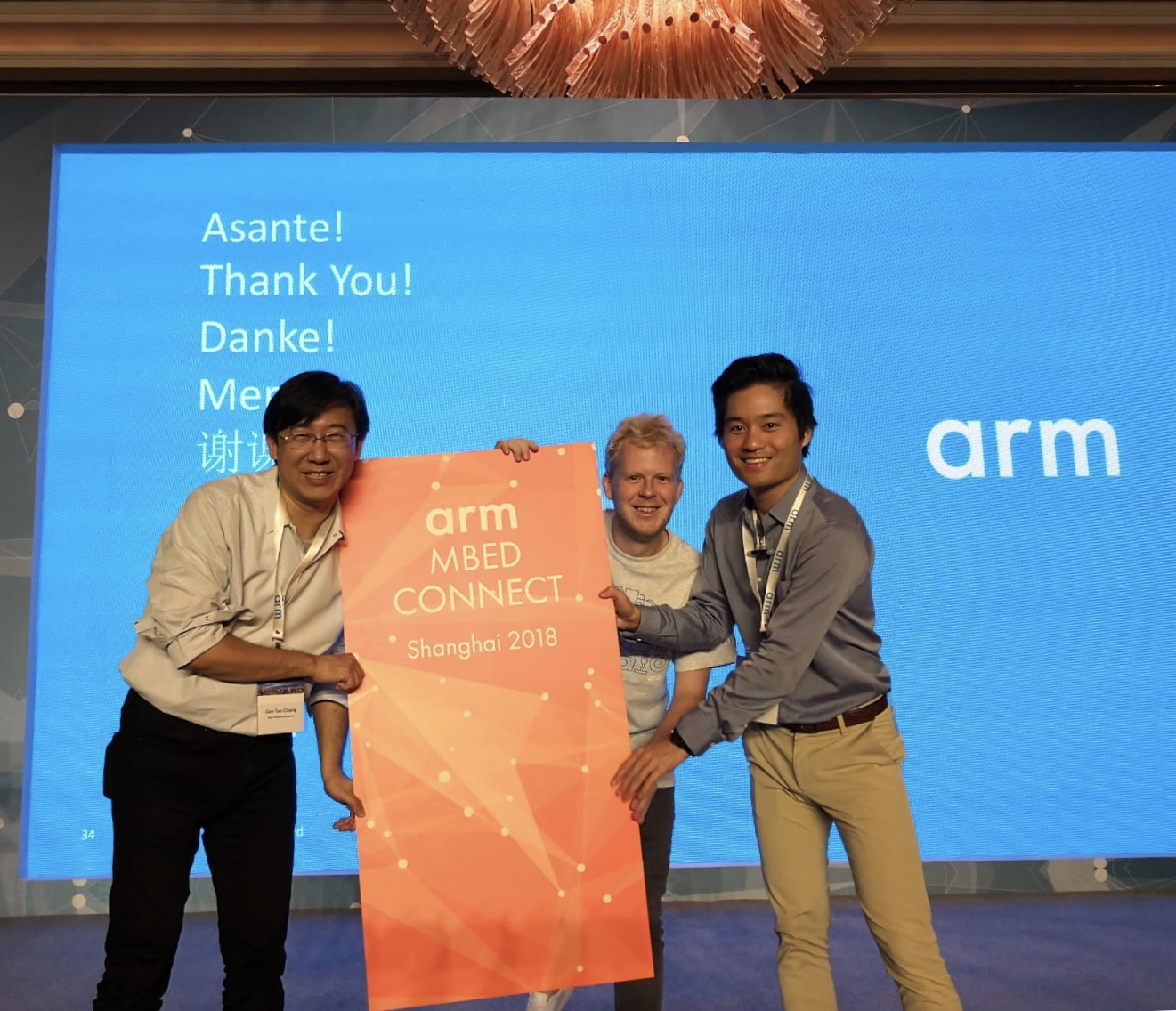 Gen-Tao Chiang, Jan Jongboom and Neil Tan at Mbed Connect China