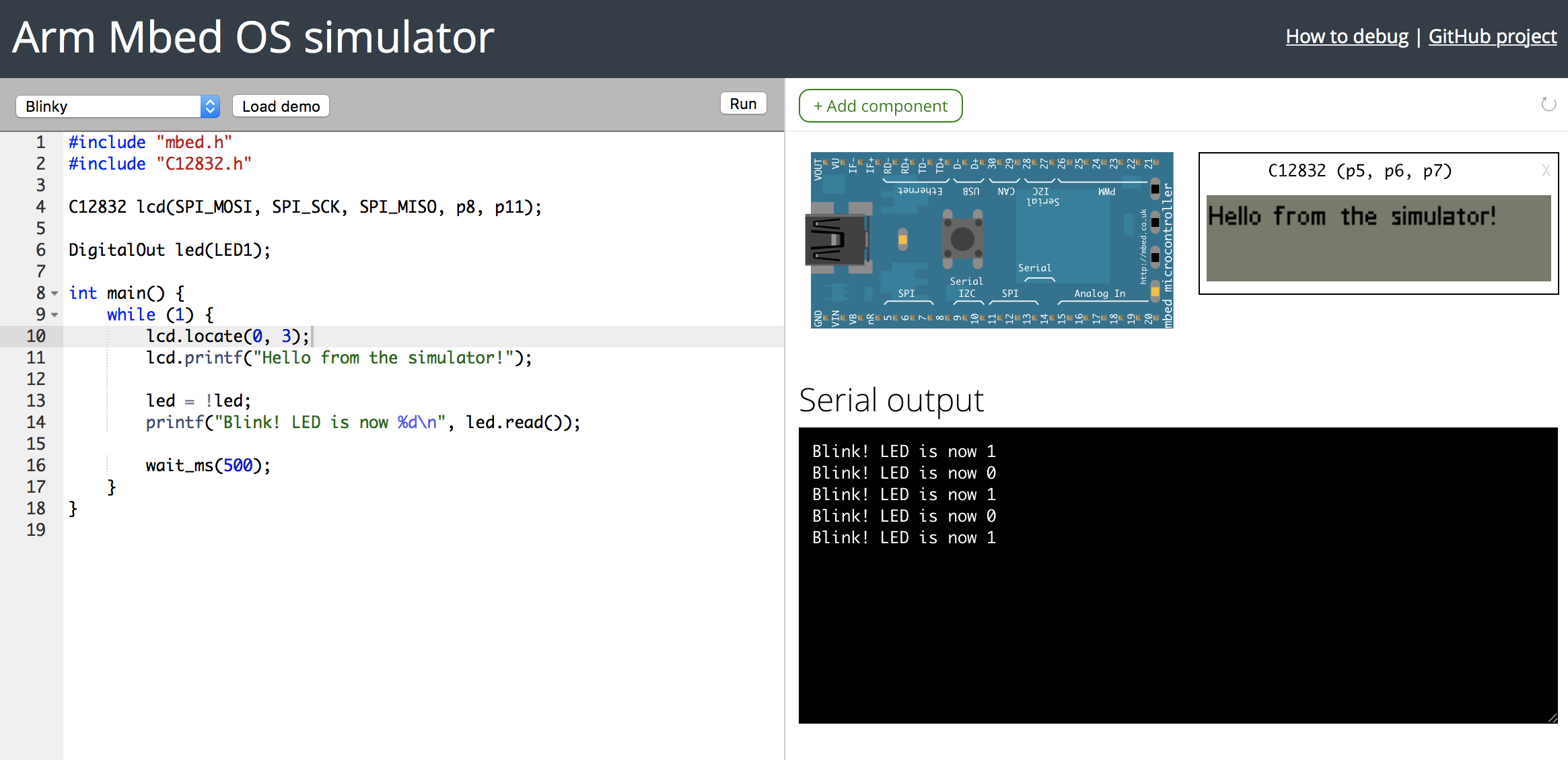 The Mbed Simulator online environment running Blinky and showing the C12832 LCD display