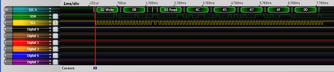 Mindstorm Sensor I2C trace