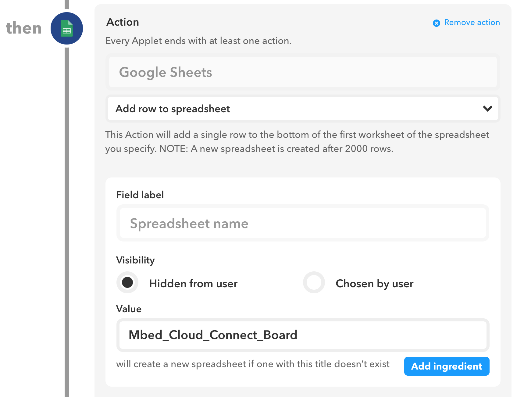 IFTTT Google Sheets Mbed Application - | Mbed