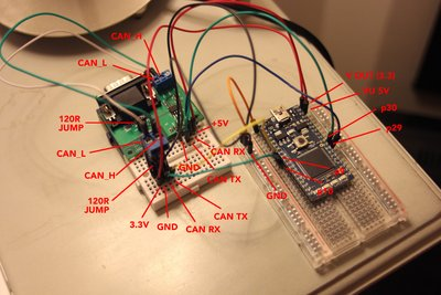 Test CAN BUS with 2 nodes (transceivers), can't read the ... Can Wiring on