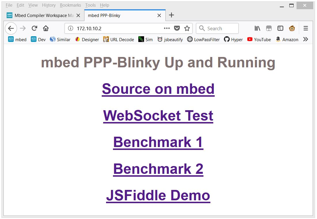 PPP-Blinky - IPv4 Stack, Web Server, WebSocket Server, UDP S