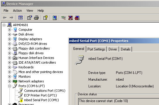 Resolved: Windows serial port driver problem | Mbed