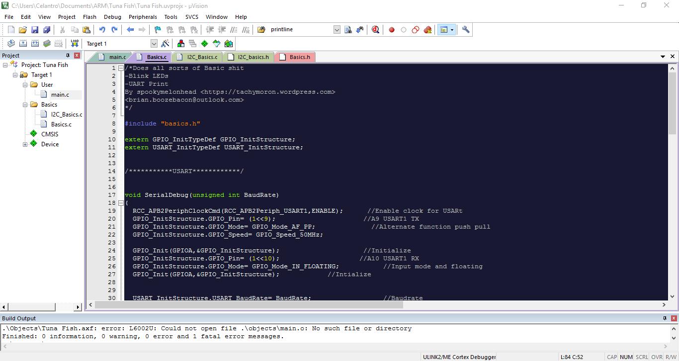 A separate file for UART printf and Basic I2C stuff  Keil Error