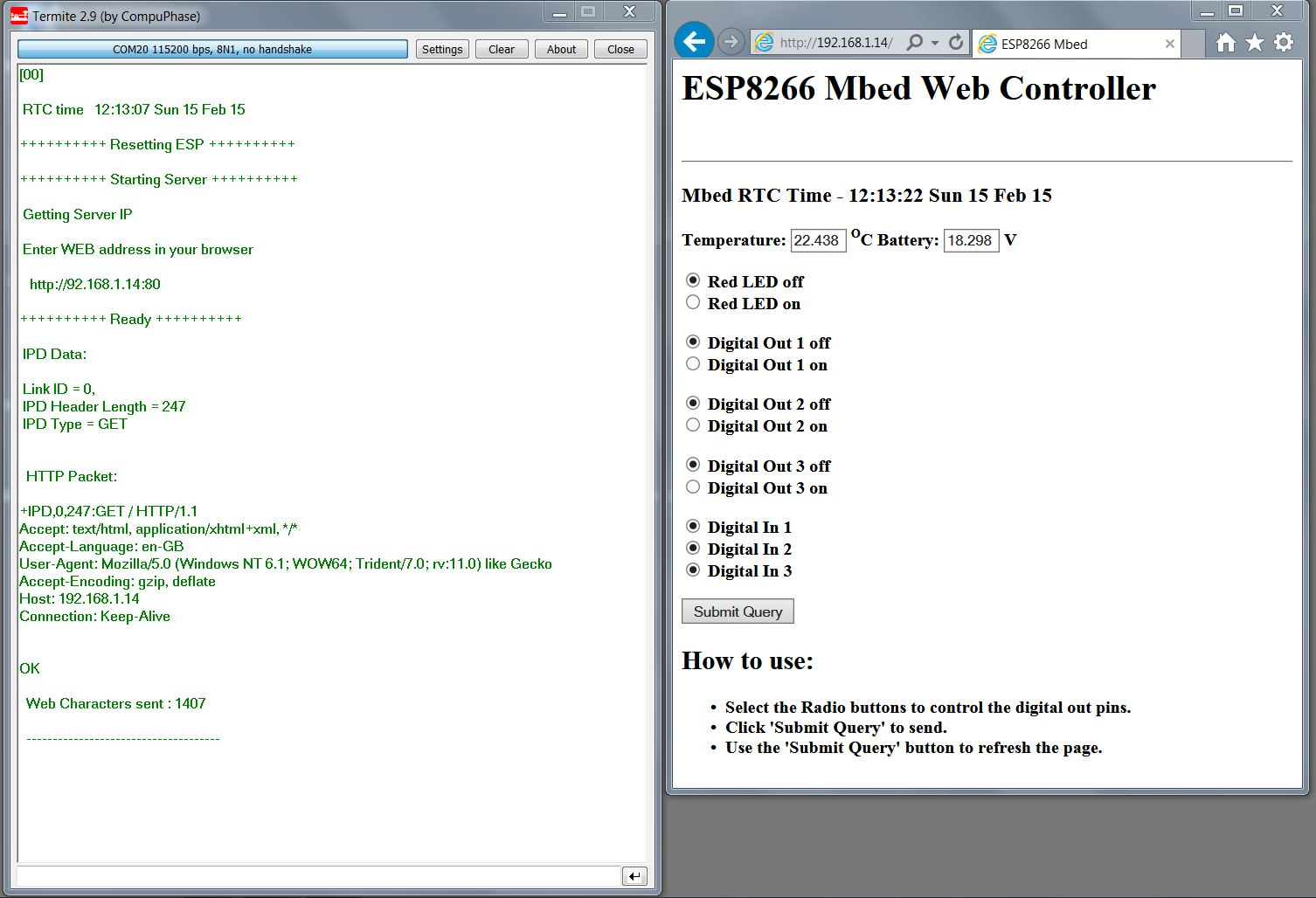 ESP8266-WEB-Mbed-Controller - Simple Wi-Fi WEB server to control and